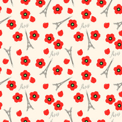 Seamless pattern. Eiffel tower and red poppies, Paris, France. Vector background