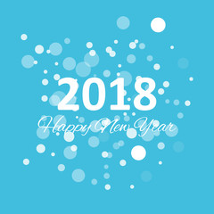 happy new year 2018 with snowflake and bokeh pattern on winter blue background vector
