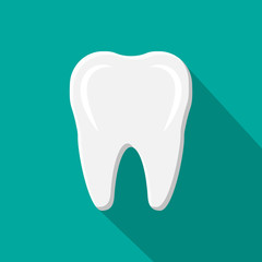 Tooth icon with long shadow. Human teeth.