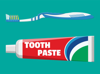 Toothbrush, toothpaste in tube