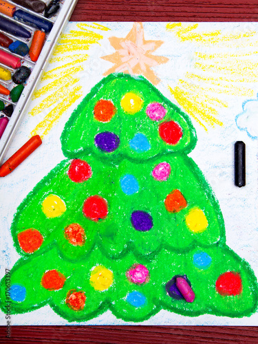 Colorful Christmas Ornaments Drawings.Colorful Drawing Christmas Tree Stock Photo And Royalty