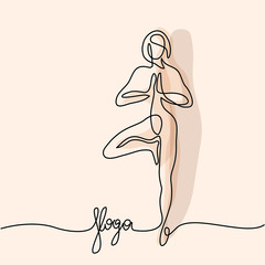 Continuous line drawing. Woman doing exercise in yoga pose. Vector Illustration soft colors