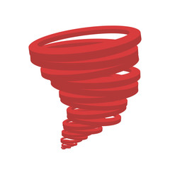 Design of a red tornado on a white background