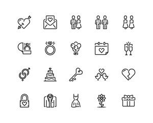 Wedding icon set, outline style