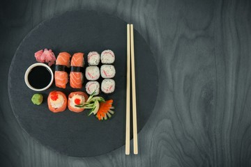 Composite image of close up of food with chopsticks