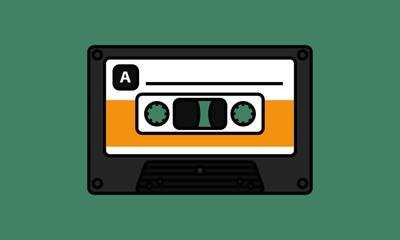 Cassette Tape (Line Art Vector Illustration in Flat Style Design)