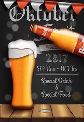 Poster. Oktober Fest. Beer. Food and Drink. Vector illustration