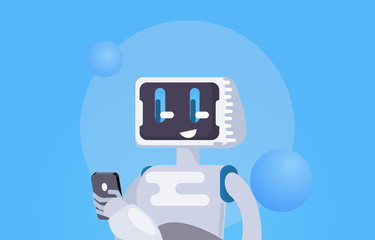 Chat Bot Free Wallpaper. The robot holds the phone, responds to messages