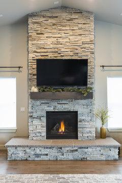 Stone Veneer Fire Place