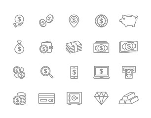 Set of vector bank and money line icons. Coin, cash, card, credit, atm, diamont, wallet, gold, deposit, purse, piggy, diamond, dollar, bag and more. Editable Stroke.