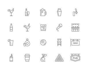 Set of vector alcohol and bar, night club line icons. Cocktail, wine, beer, cup, tequila, cognac, whiskey, shaker, whisky, karaoke, vape, shot, tap, billiard, hookah and more. Editable Stroke.