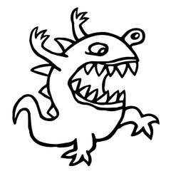 Angry dino. Vector illustration. Cute cartoon character.
