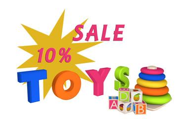 Schriftzug Sale 10% und Toys mit Lernspielzeug für Kleinkinder
