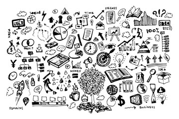 business doodle vector illustration. Icon and hand drawn elements