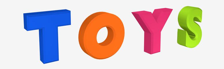 Header/Banner mit Schriftzug Toys auf weiß isoliert.