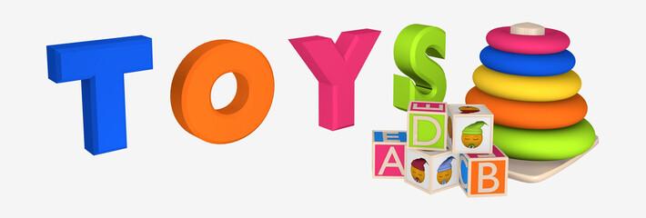 Header/Banner: Schriftzug Toys mit Lernspielzeug für Kleinkinder und Buchstaben-Würfel.
