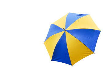 blue and yellow umbrella on white background