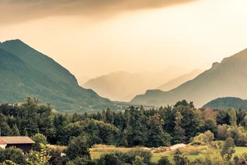 View of Austrian Alps near Salzburg