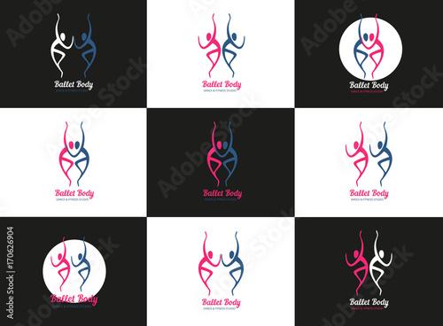 Dance Concept Set Of Icons Ballet Studio Logo Design Template