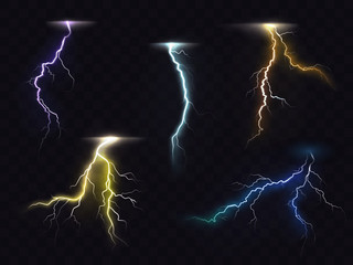 Colored lightning bolt vector set on transparent background. Electric discharges, thunderbolt glowing realistic light effects. Stormy weather, powerful energy release, high voltage strike illustration