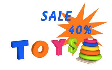 Schriftzug Toys mit Lernspielzeug für Kleinkinder und dem Text Sale 40%.