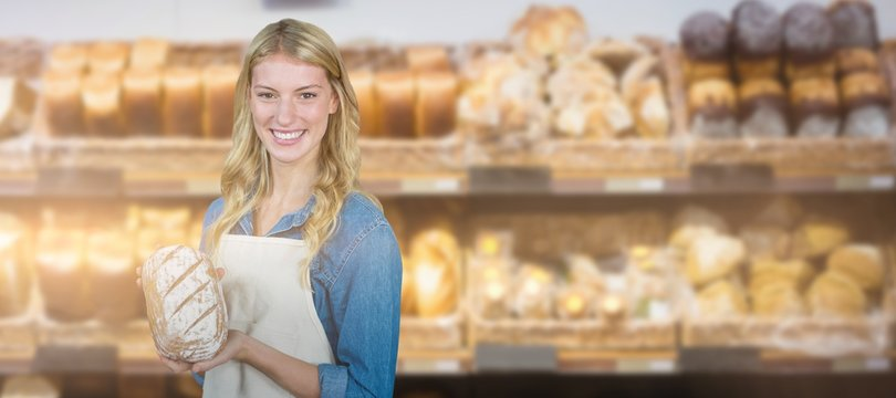 Composite image of young women showing bread