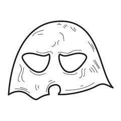 Isolated vintage ghost mask on a white background, Vector illustration