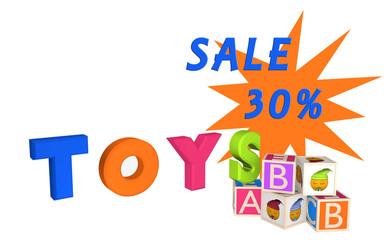 Toys als Schriftzug mit ABC Würfel und Würfel mit Emoticon und Sale 30%.