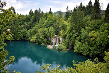 waterfall among plants in plitvice lakes