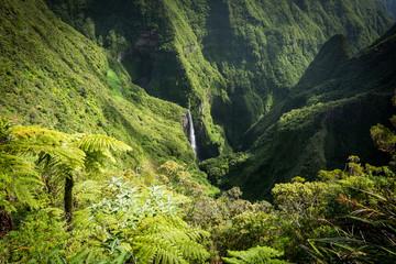 Staande foto Canyon Famous Trou de Fer Waterfall, La Reunion, France