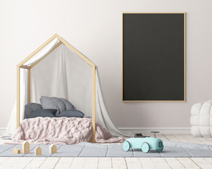 Mock up poster in the children's bedroom with a canopy. Scandinavian style. 3d