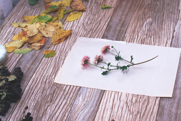 Dried flowers with autumn leaves on a wooden background.