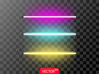 Realistic set of neon line in violet? blue and yellow color. Vector illustration on transparent background.