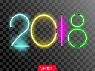 Neon 2018 new year numbers in violet, yellow, blue and green color. Vector illustration on transparent background.