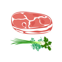 Meat. Fresh raw meat isolated on white background. Meat products vector icon set. Vector illustration.