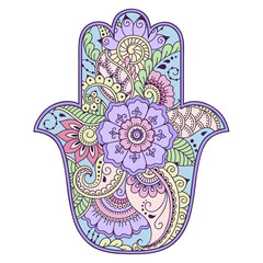 "Color hamsa hand drawn symbol. Decorative pattern in oriental style for the interior decoration and drawings with henna. The ancient symbol of the ""Hand of Fatima""."