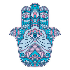 """Color hamsa hand drawn symbol. Decorative pattern in oriental style for the interior decoration and drawings with henna. The ancient symbol of the """"Hand of Fatima""""."""