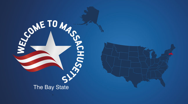 Welcome to Massachusetts USA map banner logo icon
