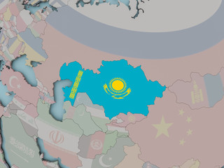 Kazakhstan on political globe with flag
