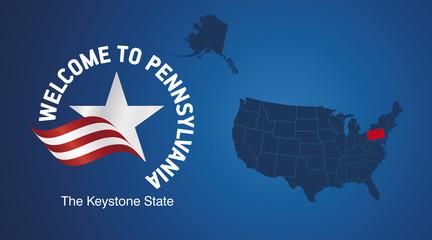 Welcome to Pennsylvania USA map banner logo icon