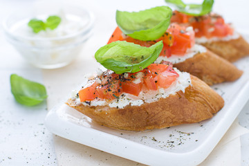 Bruschetta with cream cheese, tomatoes and basil. Close up