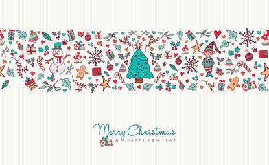 Christmas and new year hand drawn icon pattern