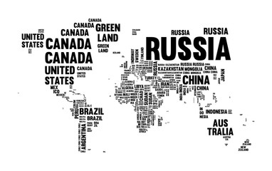 Text country name world map typography design