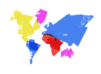 Abstract world map hand drawn concept illustration