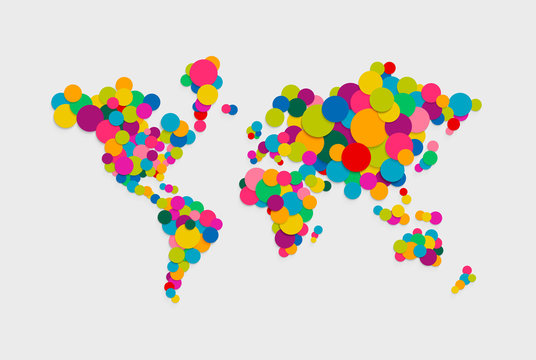 Circle world map modern color concept illustration