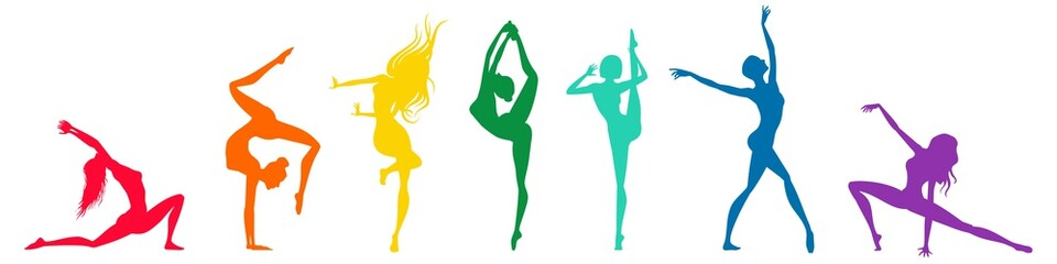 Colorfully silhouettes of dancers on a white background, vector