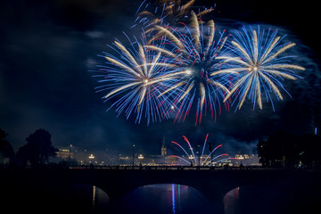 nightly panorama of Hamburg - Inner City with firework over the lake Alster