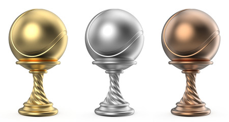 Gold, silver and bronze trophy cup TENNIS 3D