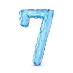 Ice font number 7 SEVEN 3D