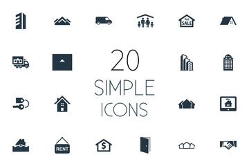 Vector Illustration Set Of Simple Property Icons. Elements Open Door, People, High-Rise And Other Synonyms Eco, Ticket And Residental.